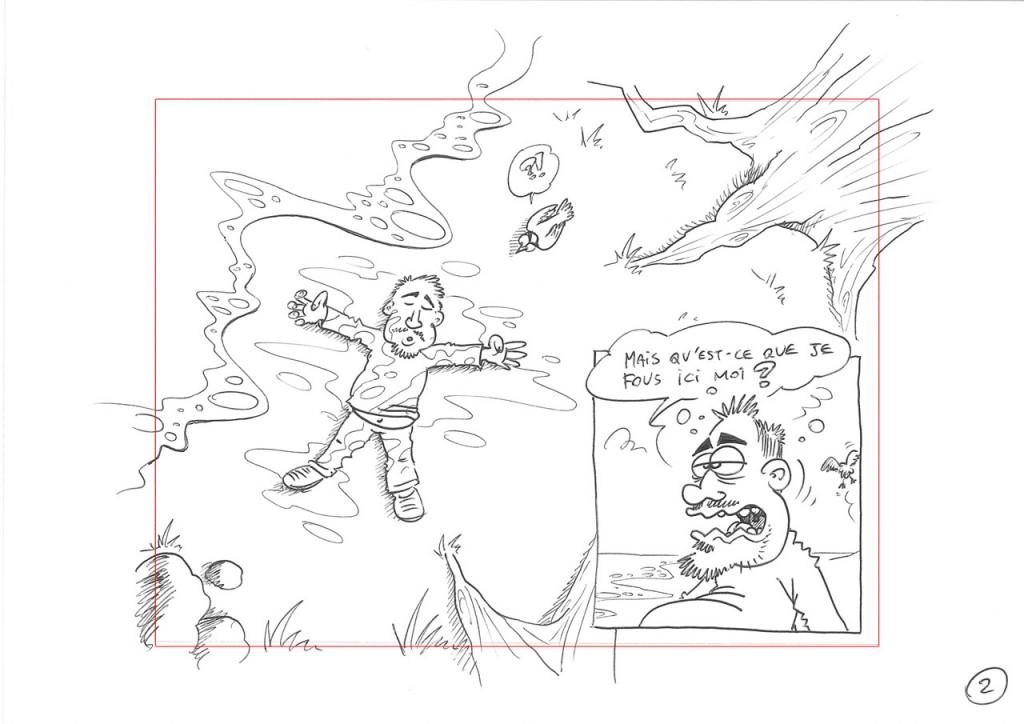 La 1ère page avant retouche et recadrage. J'ai surligné mon cadre en rouge.